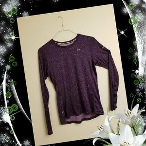 Purple Nike Dry Fit Long Sleeve Running Shirt